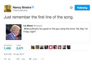 Donald Trump irrita a Nancy Sinatra